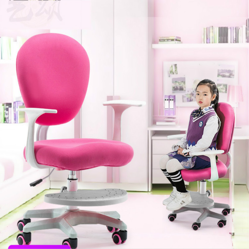 Kid Furniture Children Study Chair Home Pupil Desk Stool Lifting Swivel Seat Desk Computer Chair Corrective Sitting Posture