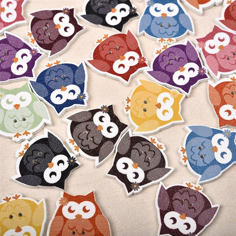 50pcs Color Mixed Owl Shaped Wooden Button Decorative Craft Sewing Wood Button For Clothing Kid Clothes Decoration DIY button