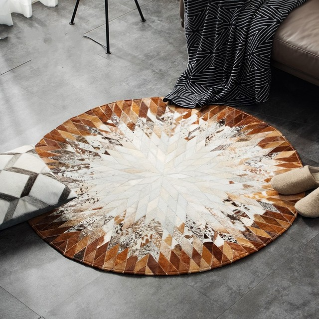 Round Shaped Natural Cowhide Seamed Rug 100 Cm Genuine Cows Skin Fur Carpet For Living