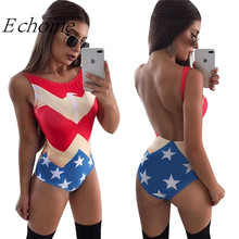 Echoine 2017 USA Flag Swimsuit Fused Women Sexy Backless High Cut One Piece Swimwear Summer Bather Monokini Beachwear Bodysuits