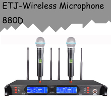 ETJ Model True Variety Skilled Twin UHF Wi-fi Microphone 2 Transmitter four Receiver Stage Efficiency Microphone 880D
