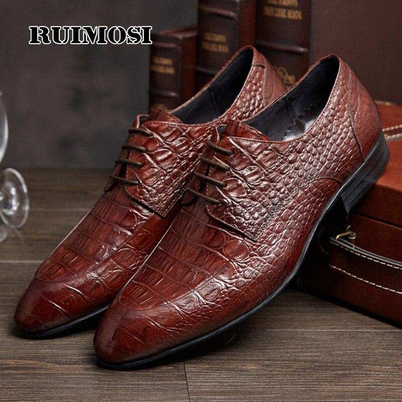 RUIMOSI Elegant Crocodile Formal Man Bridal Dress Shoes Genuine Leather Wedding Oxfords Brand Round Toe Men's Footwear RF91