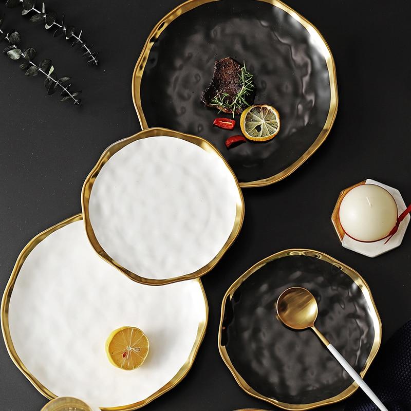 Ceramic Dinner Plate Gold Inlay Snack