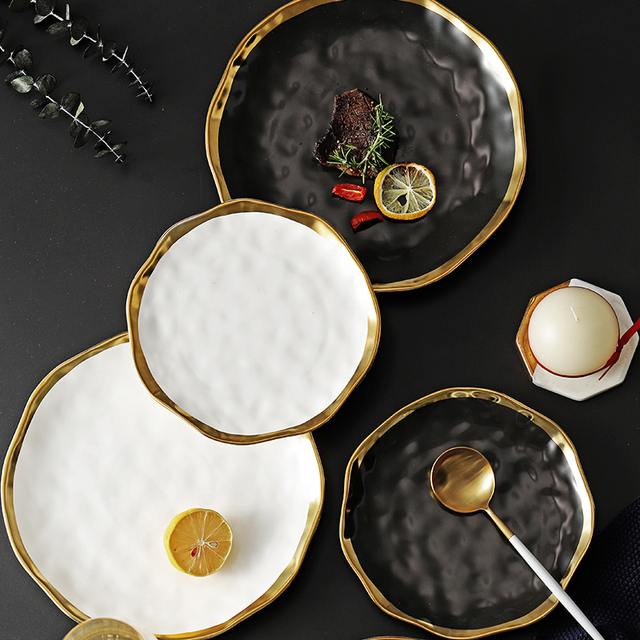 Ceramic Dinner Plate Gold Inlay Snack Dishes Luxury Gold Edges Plate Dinnerware Kitchen Plate Black White Tray TablEware Set
