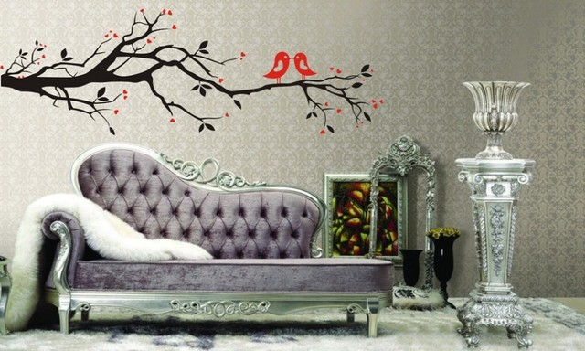 love birds tree branch wall stickers waterproof removable wall decal vinyl sticker paredes high quality wallpaper
