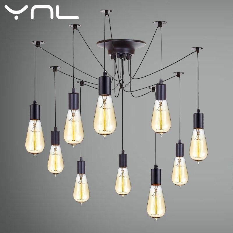 Mordern Nordic Retro Edison Bulb Light Chandelier Vintage Loft Antique  DIY Art Spider Pendant Lamp E27 LED Home Lighting
