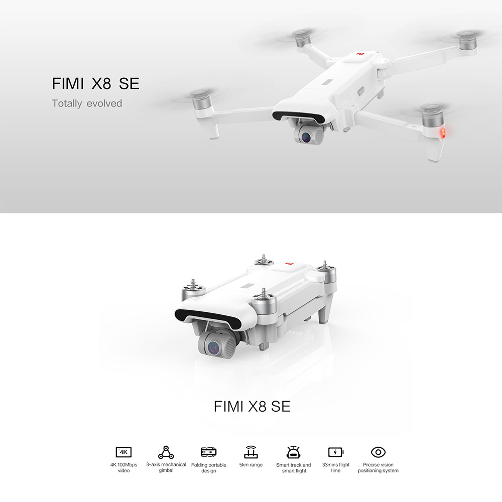 Brand New FIMI X8 SE 5KM FPV With 3 axis Gimbal 4K Camera GPS 33mins Flight