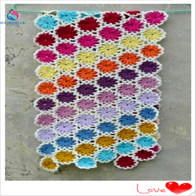 Free Shipping Colorful Crochet Wool Cotton Handmade Crochet Flower