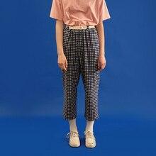 Повседневные штаны для мужчин синий плед брюк Высокая Талия милые письма Вышивка женские ботильоны-длина Брюки для девочек прямые свободные штаны Новые летние