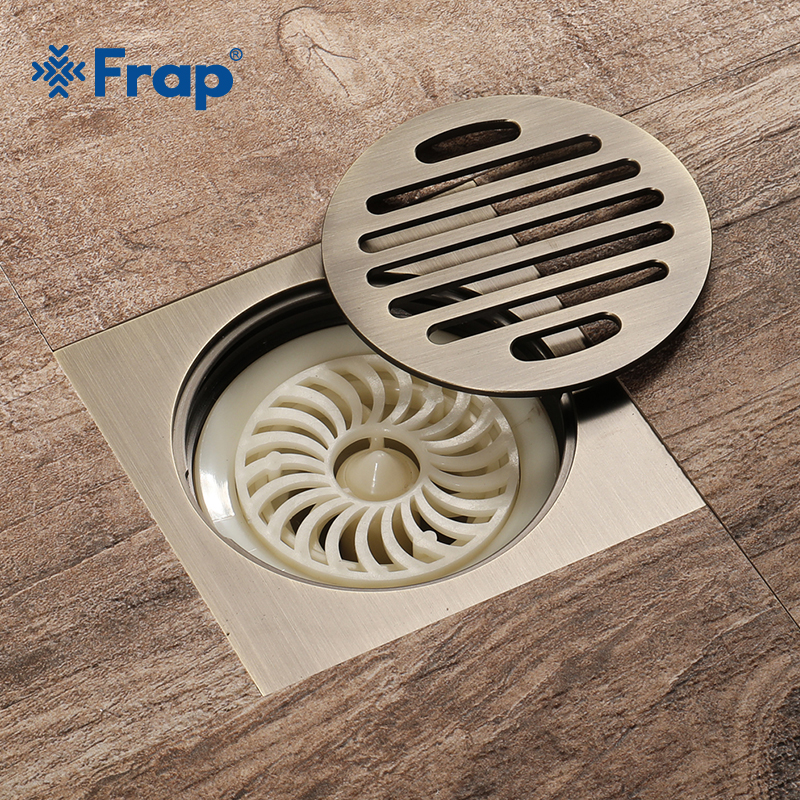 Frap Hot Sale 10cm Floor Drain Antique Brass Shower Floor Drain Bathroom Deodorant Square Waste Drain Strainer Cover GrateY38079 цена