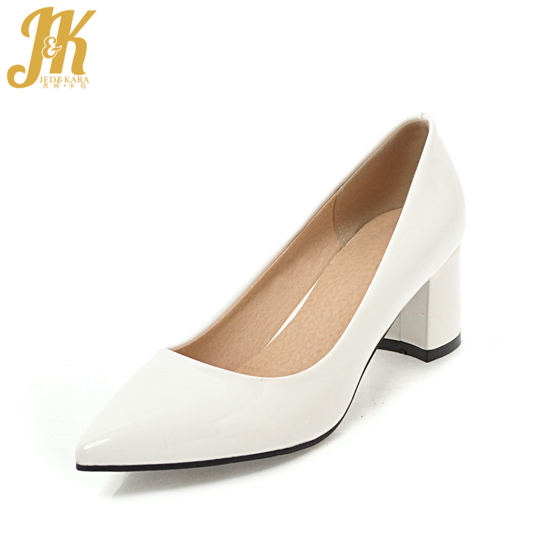 JK Office High Heel Basic Women Pumps Pointed Toe Square Heels Shallow Slip On Footwear 2018 Brand Spring Fashion Ladies Shoes krazing pot new fashion brand shoes square toe shallow women pumps metal strange high heels slip on causal office lady shoe 02