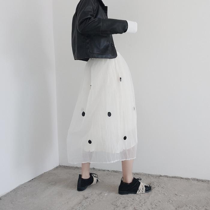 Alta Malla 2019 Mujer Cintura White Verano Faldas Para Superaen Punto De Y Primavera Elástica Mujeres Falda Europa Señoras Nuevo 7qTt00w