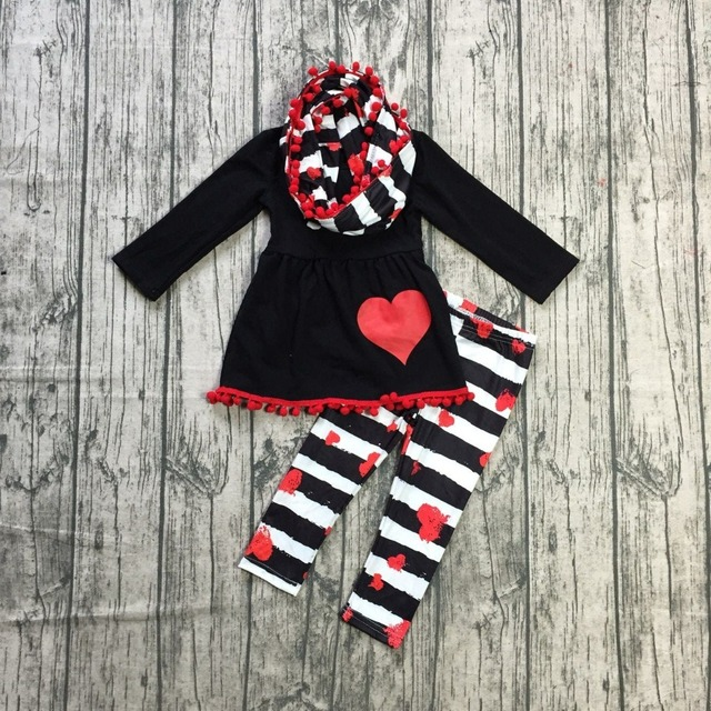 Hot Sale Baby Pcs With Scarf Clothes Girls Valentines Day Boutique Clothing Black Top With Stripes