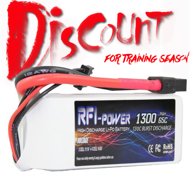 RFI-power 1300mAh 14.8V 65C(Max 130C) 4S Lipo Battery Pack for FPV Racer