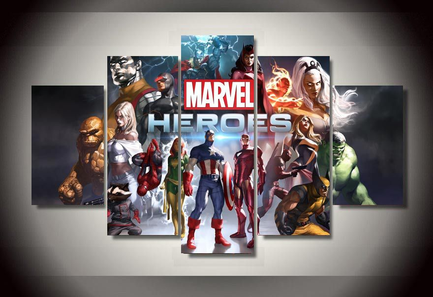5 Panel Large HD Printed Oil Painting Marvel Heroes Game Canvas Print Art  Home Decorative Wall Art Picture For Living Room F0582 In Painting U0026  Calligraphy ...