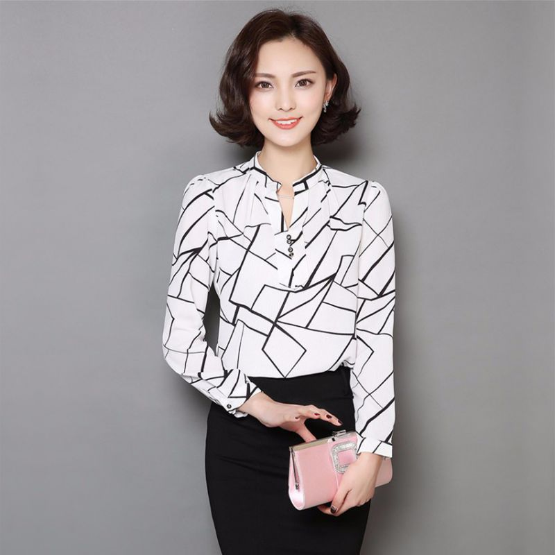 c9a9daf3 New Women Chiffon Work Wear Button Down Shirt Office Ladies Blouse Casual  Tops Hot-in Blouses & Shirts from Women's Clothing on Aliexpress.com |  Alibaba ...