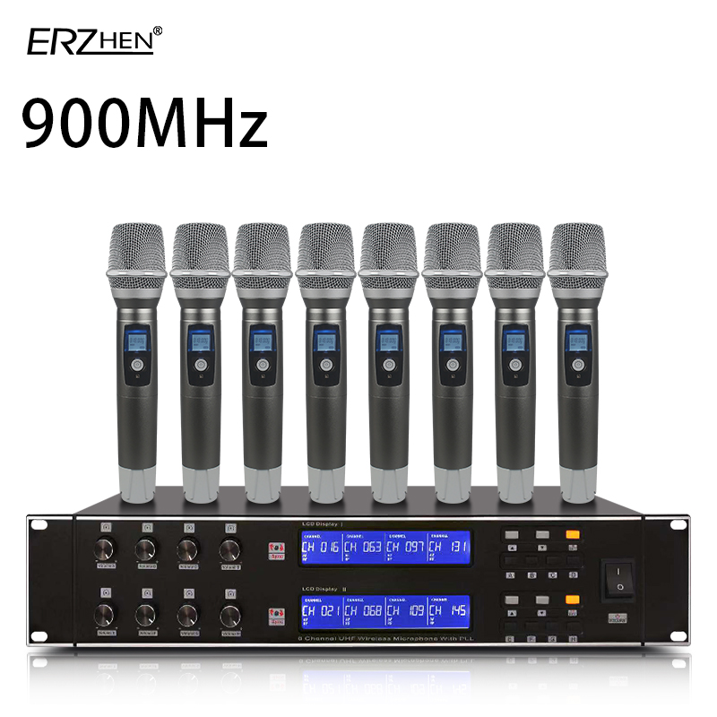 Wireless Microphone System 900MHz Professional Microphone,8-channel Stage Performance Dynamic UHF 8 Handheld Microphone Kalaoke