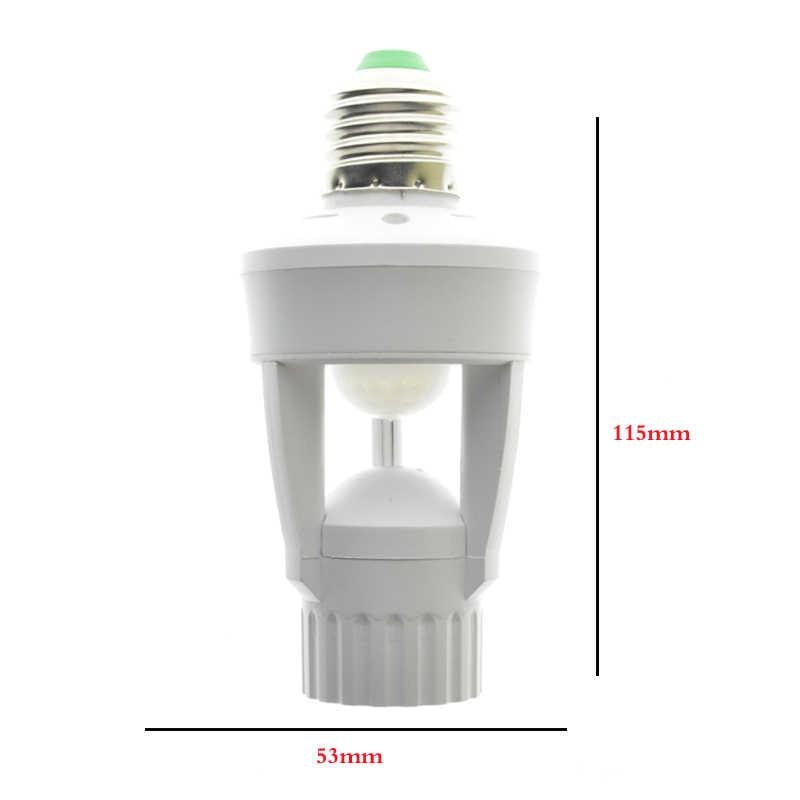 1Pcs AC110V 220V PIR Infrared Motion Sensor E27 Led Light Lamp Base Holder Bulb Socket 360 Degrees Detection Day & Night 2 Modes