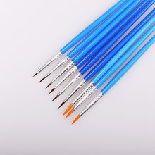 10 Pcs/Set Fine Hand Painted Thin Hook Line Pen Blue Art Supplies Drawing Art Pen Paint Brush Nylon Brush Painting Pen(China)