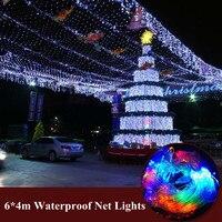 Led net lights lantern flasher lamp set 6*4m curtain lights Wedding Christmas New year garden waterproof outdoor lights Lighting