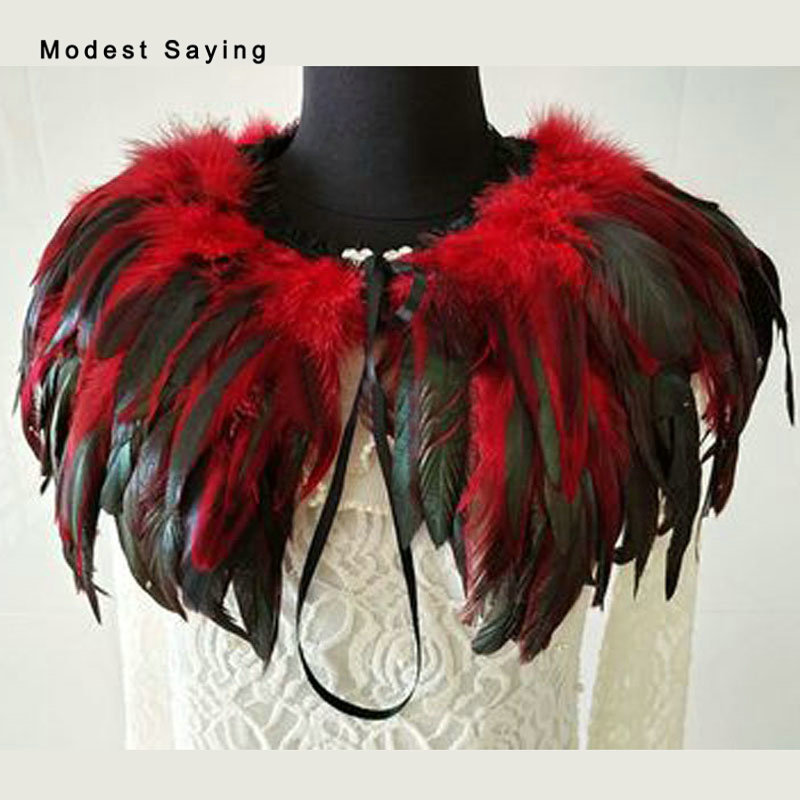 Gothic Red and Black Fur Feather Coats Wedding Boleros 2018 Shrugs for Women Bridal Capes Shawls Ups Wraps Wedding Accessories ...