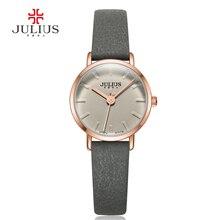 Julius Nouvelle Arrivée Mince Bracelet En Cuir Quartz Montres Femmes Marque De Luxe Montre Logo Résistant À L'eau Horloge Relojes Mujer JA-963