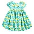 Лето Девушки Платье Из Хлопка Танк Платье с Lemon Green Leaves One Piece Платье