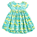 Vestido da menina de verão de algodão vestido tanque com lemon folhas verdes vestido de uma peça