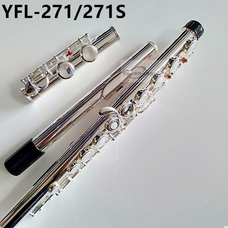 Топ японская флейта 16 отверстие с E ключ YFL 271/271 S Посеребренная флейта клавишу C белый Медь Flauta поперечные музыка Instrumentos