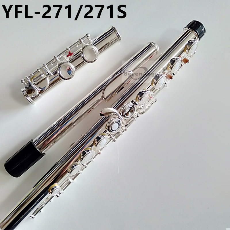 Top Japon Flûte 16 Trou avec la Touche E YFL 271/271 s Argent Plaqué Flûte C Clé Blanc Cuivre flauta Transversale Musique Instrumentos