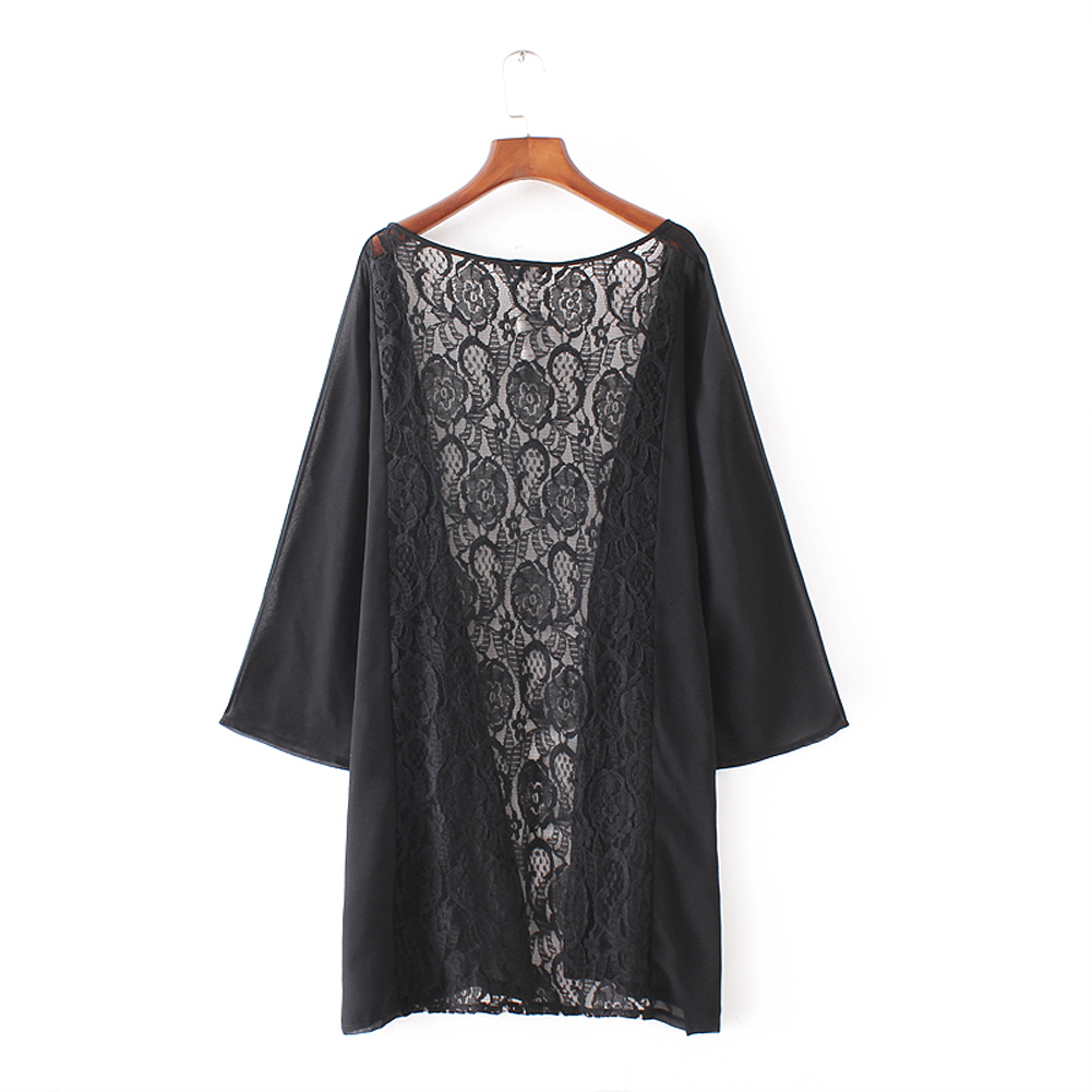 Women Summer Beach Kimono Cardigans Sexy Back Lace Crochet Hollow ...