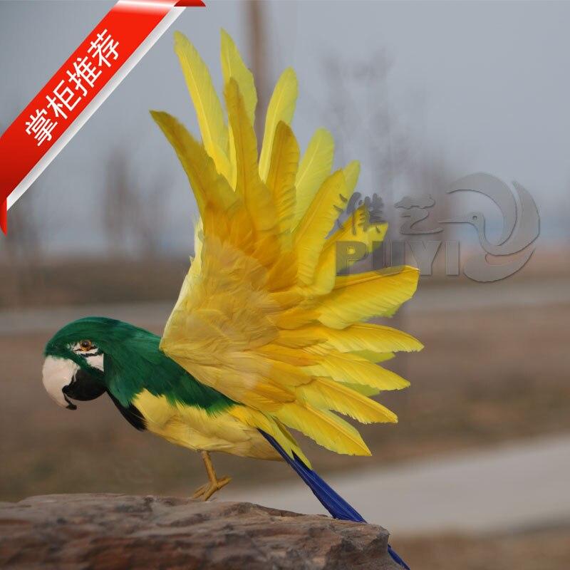 Simulation créative perroquet jaune jouet plastique & fourrures ailes oiseau modèle cadeau environ 55x30 cm 1407
