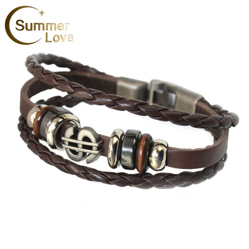 Tide Vintage Leather Bracelet Men Bileklik Wristband Jewelry Multi-Variety Easy-Hook Charm Woman Bracelets Cuir Bijoux Homme