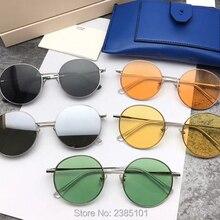 Корейские женские круглые солнцезащитные очки, Роскошные Нежные фирменные дизайнерские солнцезащитные очки, яркие цвета, женские солнцезащитные очки UV400