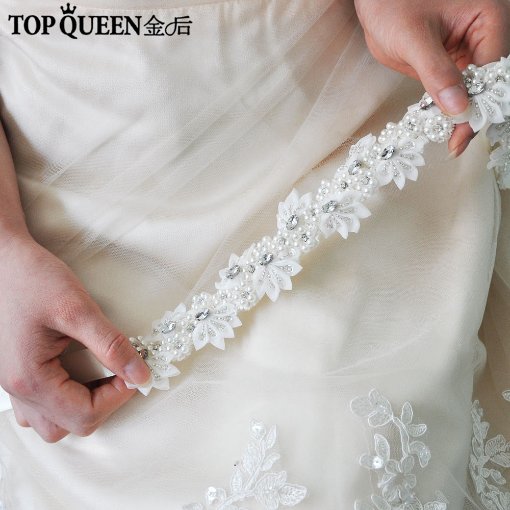 TOPQUEEN H232 Wedding Headwears For Women Wedding Dress With Pearls  Lace Flowers With Crystal Hair Decorations For Girlfriend