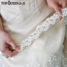 TOPQUEEN H232 chapeaux de mariage pour femmes robe de mariée avec perles fleurs en dentelle avec des décorations de cheveux en cristal pour petite amie