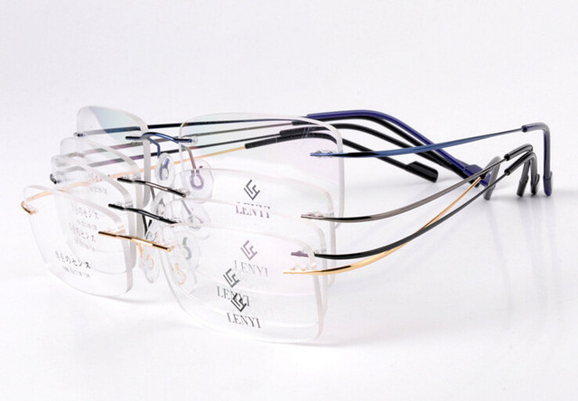 66e49b4cdc8 Brand non-screw hingeless rimless memory titanium alloy optical glasses  frames ultra-light for