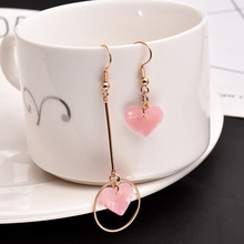 The east gate of South Korea asymmetric long and short love ear stud personality pink alloy
