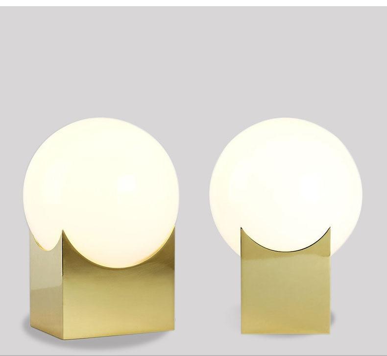 Glas Gold Tisch Lampe Kreative Büro Tisch Lampe Nordic Moderne Minimalistischen Post moderne tisch lampe Hause Schlafzimmer Studie Zimmer