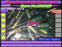 Aoweziic capacitor eletrótico de alta resistência, 50 peças, 16v, 1000uf, 10*16, 1000uf, 16v 8x16