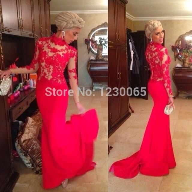 Red 2016 Sexy   Prom     Dress   High Neck Long Sleeve Appliques Court Train Mermaid Vestido De Formatura Abendkleider Cheap