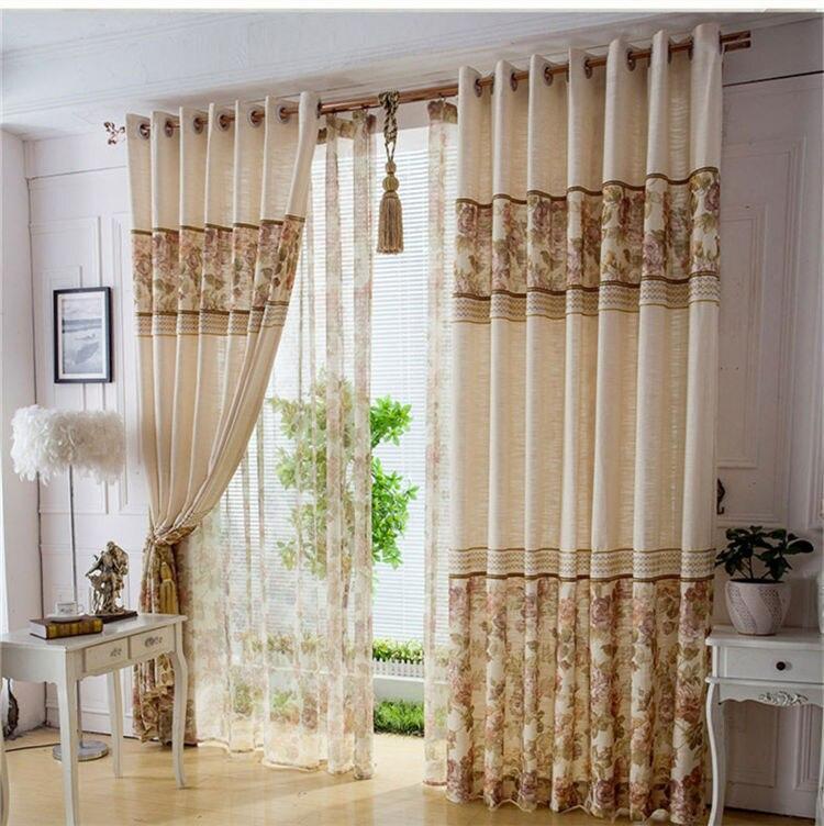 Lujo cortinas oscuras para sala de estar bordados cortinas