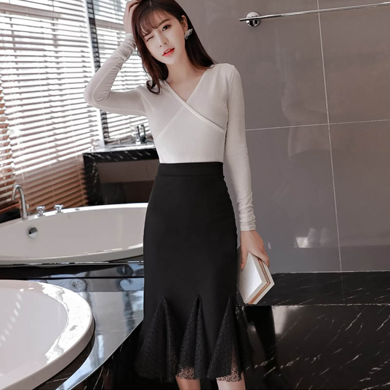 72fdf4a07a8ca SymorHouse S 5XL Women Pencil Skirt Plus Size 2018 Fashion Sexy Lace  Patchwork Skirt Lady Stretch Elegant Ruffles Skirt female-in Skirts from  Women s ...