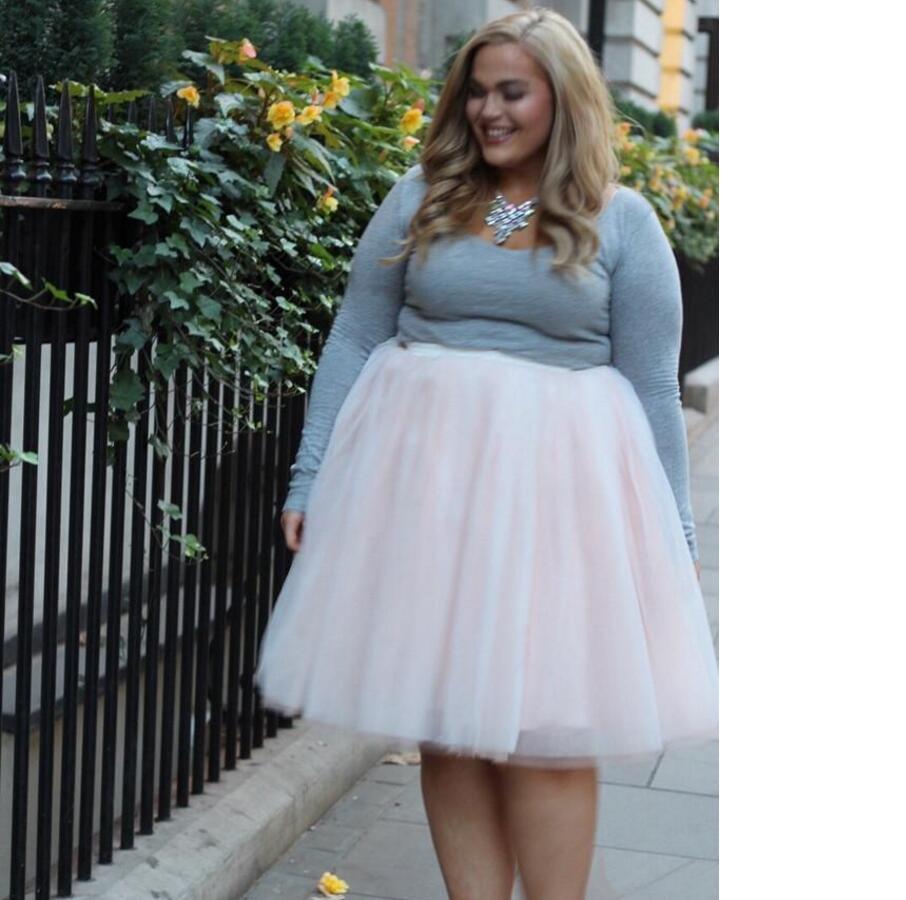 Beautiful Plus Size Woman Pink Tutu Skirt Custom Made Knee -7701