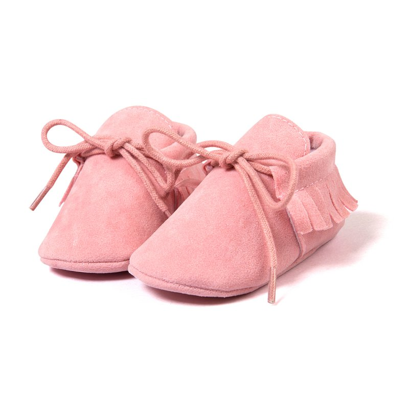 Primeros Caminante de La Borla de Cordones de Cuero Nobuck Sólido Zapatos Prewal