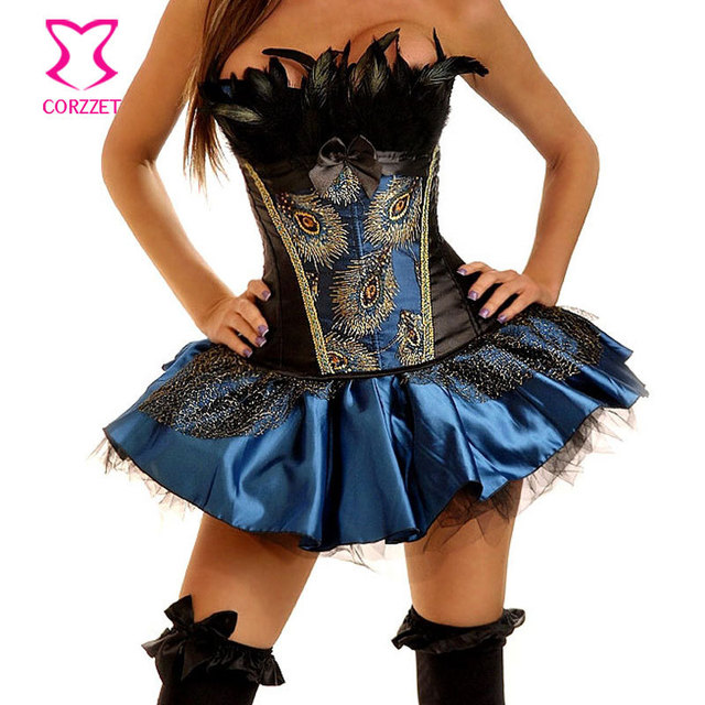 243be7d88a5 Feathers Top Peacock Corset Burlesque Costume Korsett For Women Corselet  Overbust Corpetes E Espartilhos Sexy Gothic Clothing