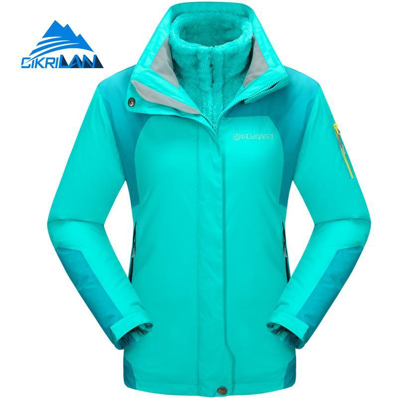 Donne 3in1 Giacca Impermeabile Esterno Delle Donne Foderato In Pile Con Cappuccio Campeggio Trekking Arrampicata Sportiva del Cappotto di Sci Snowboard Casaco Feminino