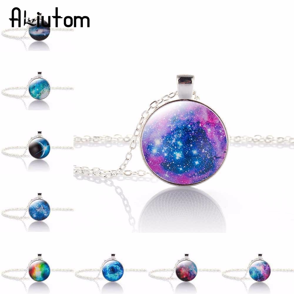 ALIUTOM New Fashion Galaxy Necklaces Nebula Space Glass Cabochon Pendants Brand Jewelry for Women Men Best Friend Ship Gift