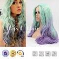 Фиолетовые волосы краситель ломбер цветной парики длинные светло-зеленый парик волнистые синтетические зеленые волосы парики