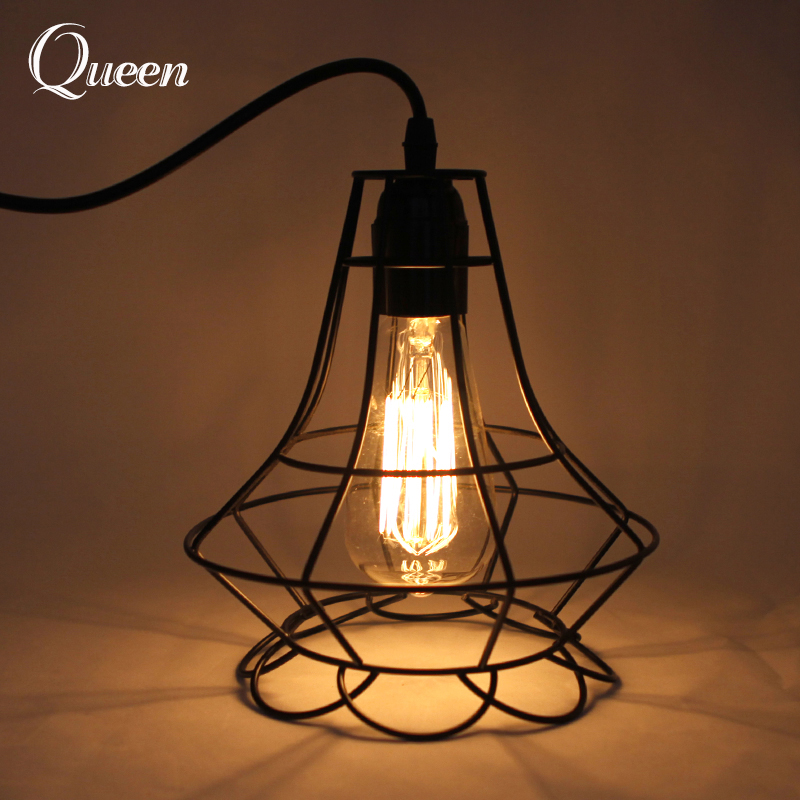 guard shade pendant metal iron hangng cage shape from product lamp wrought ceiling heads modern diamond light lamps industrial new designed